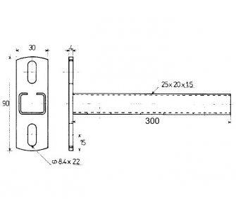 konzola nosníková C 25x20x1,5mm 300mm (88832271830)