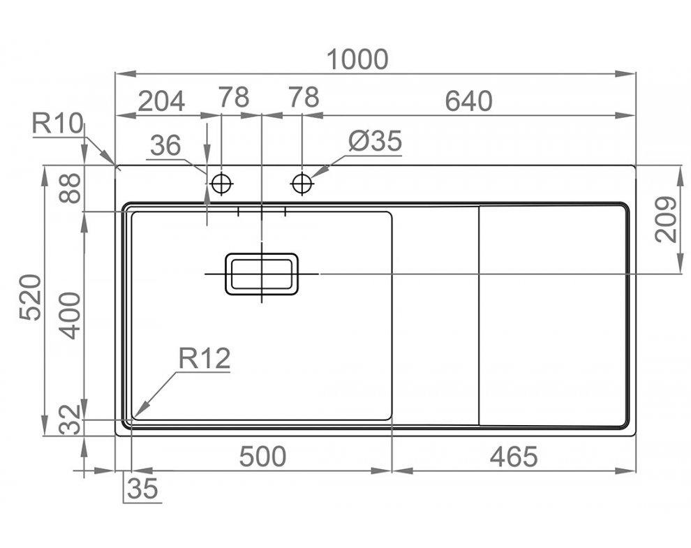 Drez nerezový Sinks XERON 1000 ľavý 1,2mm