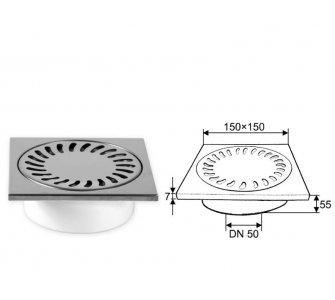 Podlahová vpusť spodná, s vodnou hladinou, nerezová mriežka 150x150mm, DN50/55
