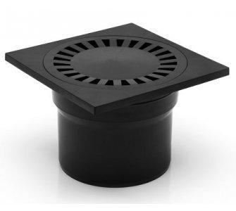 Podlahová vpusť spodná, s vodnou hladinou, plastová mriežka 150x150mm, DN110
