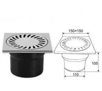 Podlahová vpusť spodná, s vodnou hladinou, nerezová mriežka 150x150mm, DN110
