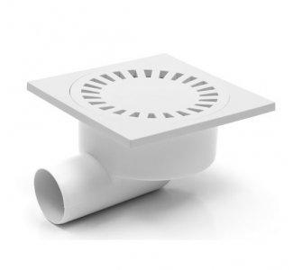 Podlahová vpusť bočná, s vodnou hladinou, plastová mriežka 150x150mm, DN50/95