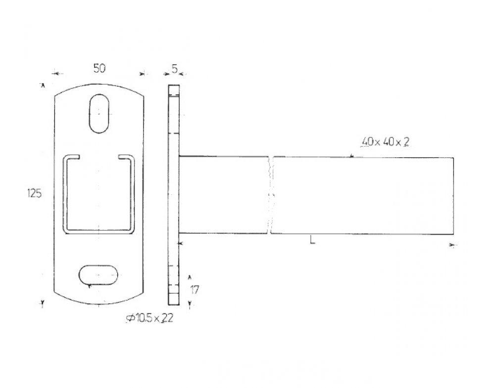 konzola nosníková C 40x40x2mm 300mm (88832384430)