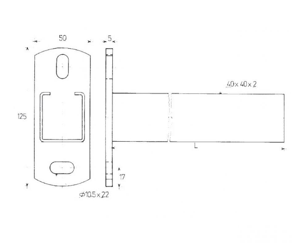 konzola nosníková C 40x40x2mm 500mm (88832384450)