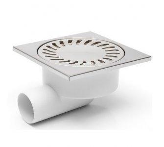 Podlahová vpusť bočná, s plavákom, nerezová mriežka 150x150mm, DN50/95
