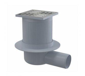 Podlahová vpusť 105×105/50 mm bočná, mriežka nerez, vodná zápachová uzávera