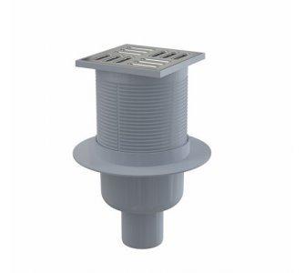 Podlahová vpusť 105×105/50 mm priama, mriežka nerez, vodná zápachová uzávera