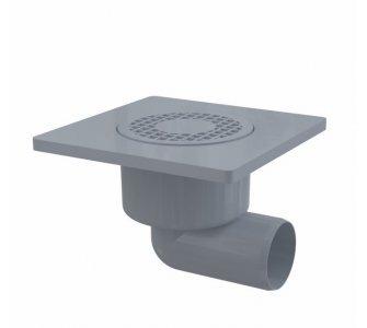 Podlahová vpusť 150×150/50 mm bočná, mriežka šedá, vodná zápachová uzávera