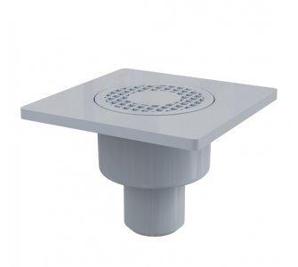 Podlahová vpusť 150×150/50 mm priama, mriežka šedá, vodná zápachová uzávera
