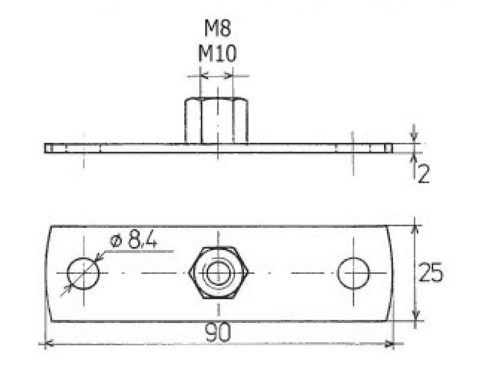 upevňovacia doska pozink. M8 90x25 (88821600854)