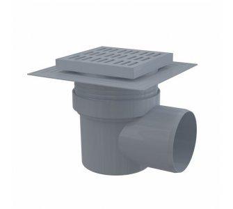 Podlahová vpusť 150×150/110 mm bočná, mriežka šedá, límec 2. úrovne izolácie, vodná zápachová uzávera