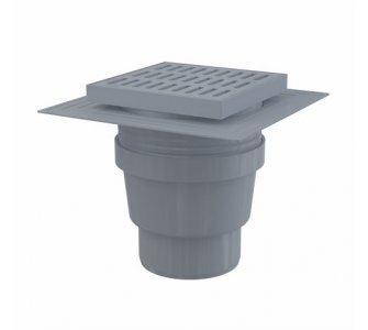 Podlahová vpusť 150×150/110 mm priama, mriežka šedá, límec 2. úrovne izolácie, vodná zápachová uzávera