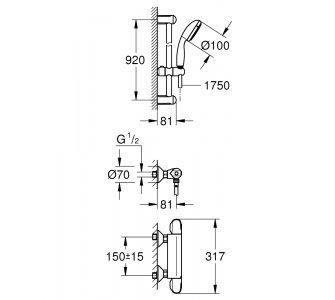 batéria sprchová stenová termostatická so sprchovou súpravou, GROHTERM 1000