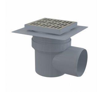 Podlahová vpusť 150×150/110 mm bočná, mriežka nerez, límec 2. úrovne izolácie, vodná zápachová uzávera