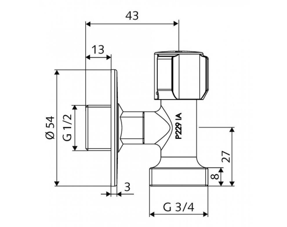 ventil rohový regulačný  COMFORT 1/2 x 3/4