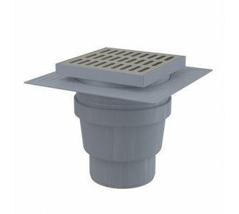 Podlahová vpusť 150×150/110 mm priama, mriežka nerez, límec 2. úrovne izolácie, vodná zápachová uzávera