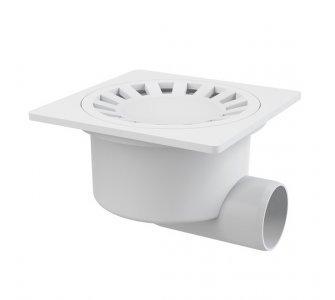 Podlahová vpusť 150×150/50 mm bočná, mriežka biela, vodná zápachová uzávera