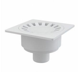 Podlahová vpusť 150×150/50 mm priama, mriežka biela, vodná zápachová uzávera
