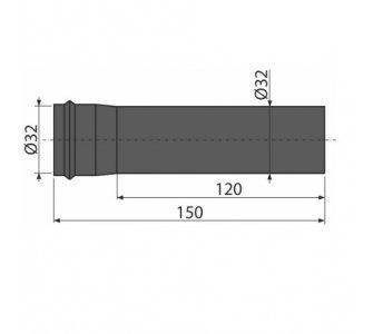 Predlžovací kus ku kovovým umývadlovým sifónom, d 32mm, matná čierna