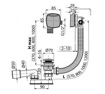 sifón vaňový clik/clak s napúšťaním prepadom, dĺžka 80cm, chróm