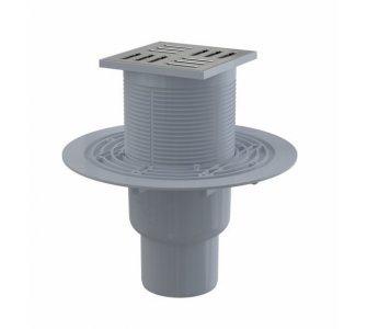 Podlahová vpusť 105×105/50/75 mm priama, mriežka nerez, vodná zápachová uzávera