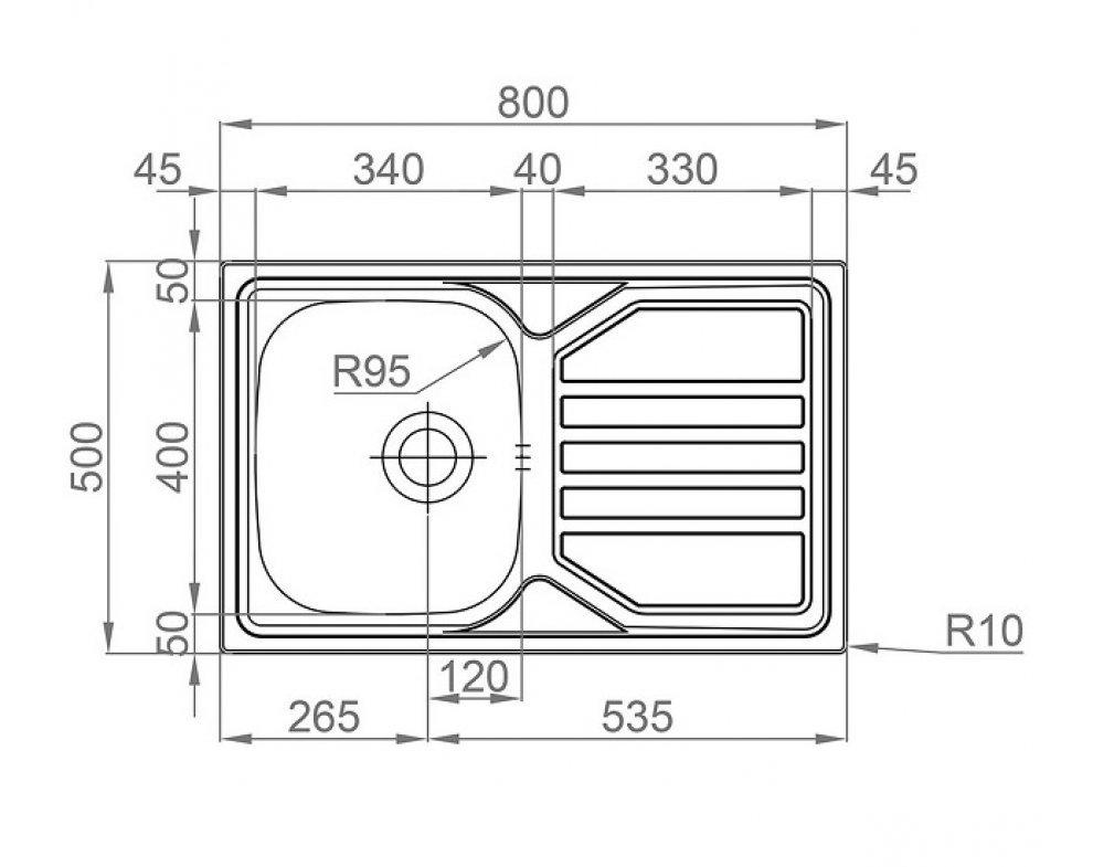 SET drez nerez Sinks OKIO 800 V + batéria VITALIA