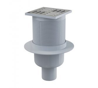 Podlahová vpusť 105×105/50 mm priama, mriežka nerez, kombinovaná zápachová uzávera SMART