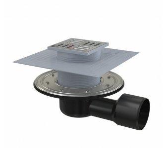 Podlahová vpusť 105×105/50/75 mm bočná, mriežka nerez, nerezová príruba a límec 2. úrovne izolácie, vodná a suchá zápachová uzávera