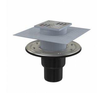 Podlahová vpusť 105×105/50/75 mm priama, mriežka nerez, nerezová príruba a límec 2. úrovne izolácie, vodná a suchá zápachová uzávera