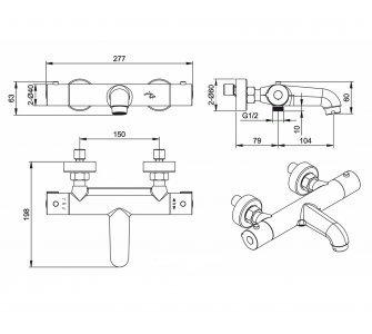 batéria vaňová termostatická bez príslušenstva, PERSEI