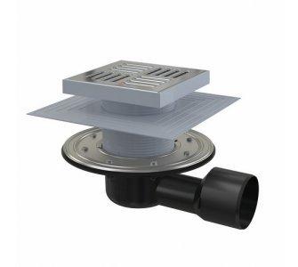Podlahová vpusť 150×150/50/75 mm bočná, mriežka nerez, nerezová príruba a límec 2. úrovne izolácie, vodná a suchá zápachová uzávera