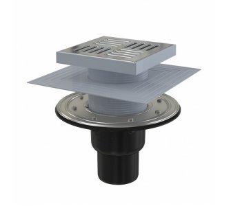 Podlahová vpusť 150×150/50/75 mm priama, mriežka nerez, nerezová príruba a límec 2. úrovne izolácie, vodná a suchá zápachová uzávera