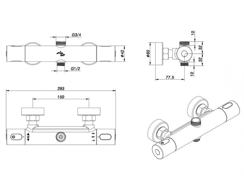 batéria sprchová termostatická pre 2 odberné miesta, bez príslušenstva, COOLTOUCH