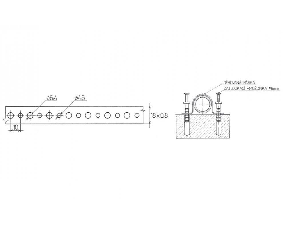 dierovaná páska pozink. 18×0,8 / 10bm (88821800017)