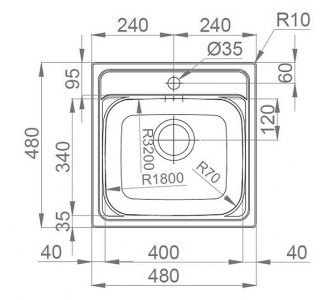 drez nerezový Sinks MANAUS 480 V 0,7mm leštený