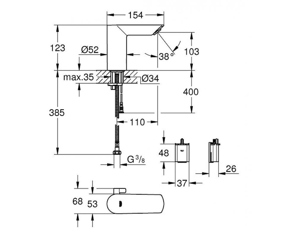 batéria elektronická infračervená, umývadlová, so zmiešavacím zariadením, BAU COSMOPOLITAN E, chróm