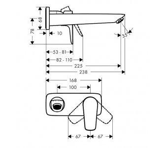 batéria umývadlová podomietková, s výtokom 22,5cm, TALIS E, matná biela