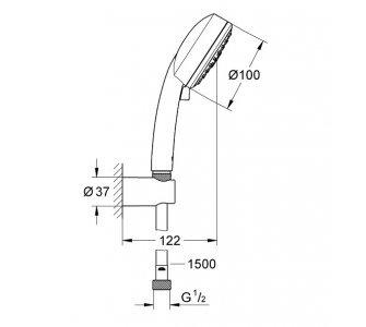 sprchový set s 3-polohovou ručnou sprchou, hadica 1500mm, TEMPESTA COSMOPOLITAN 100, chróm