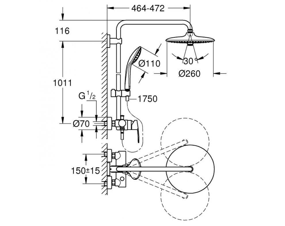 sprchový set s jednopákovou stenovou batériou, hlavová sprcha d260mm, EUPHORIA SYSTEM, chróm