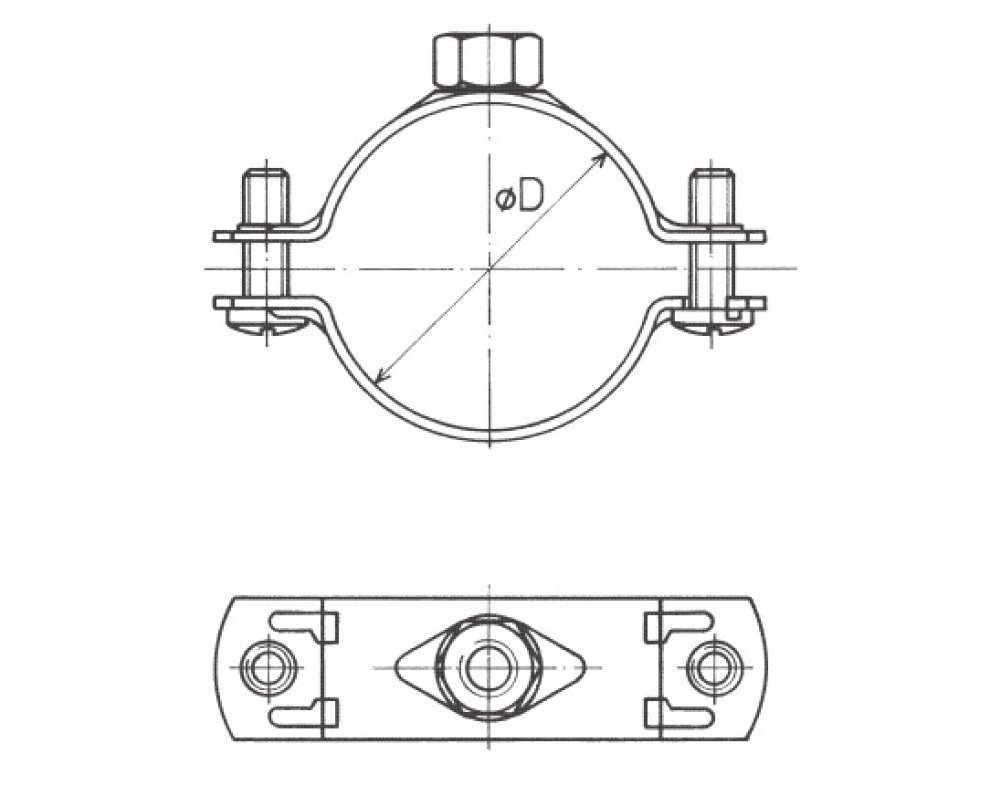 Objímka dvojskrutková bez tlmiacej vložky 56-62mm 2