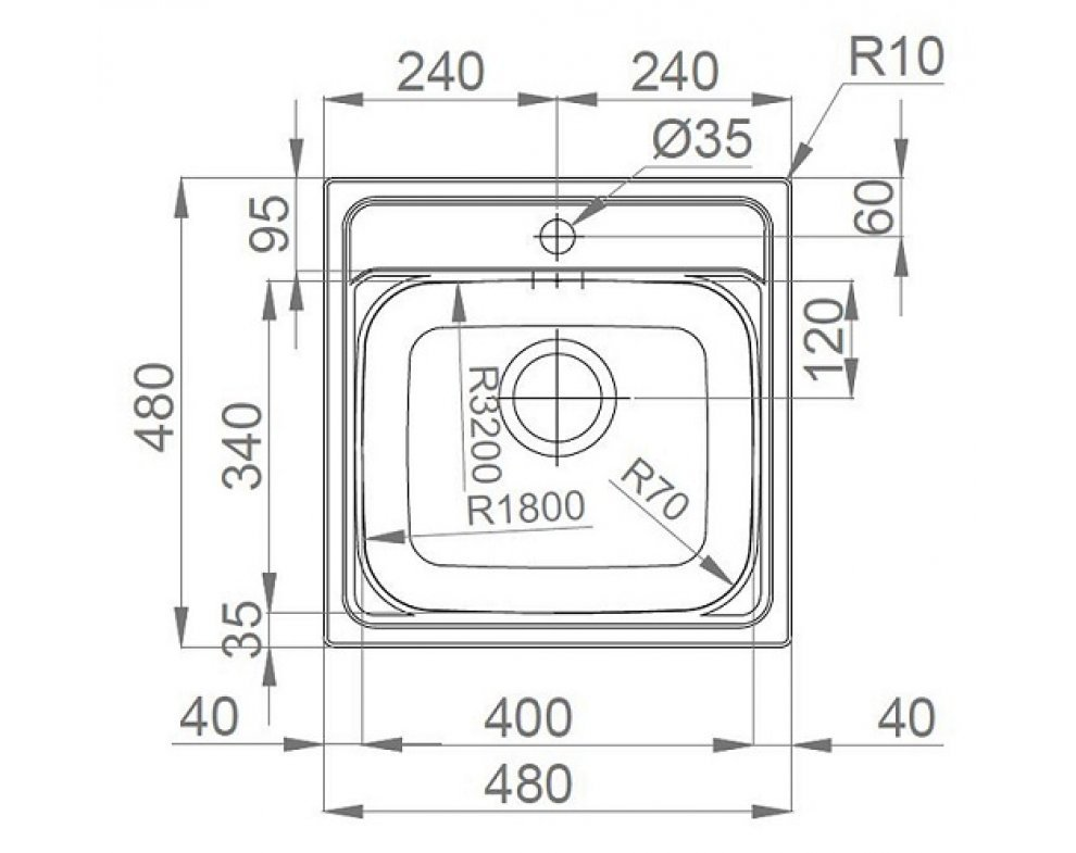 drez nerezový Sinks MANAUS 480 V 0,7mm matný