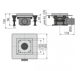 podlahová vpusť nerezová nízka 130×130 mm bočná, bez mriežky, vodná zápachová uzávera