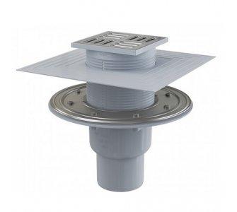 Podlahová vpusť 105×105/50/75 mm priama, mriežka nerez, nerezová príruba a límec 2. úrovne  izolácie, kombinovaná zápachová uzávera SMART
