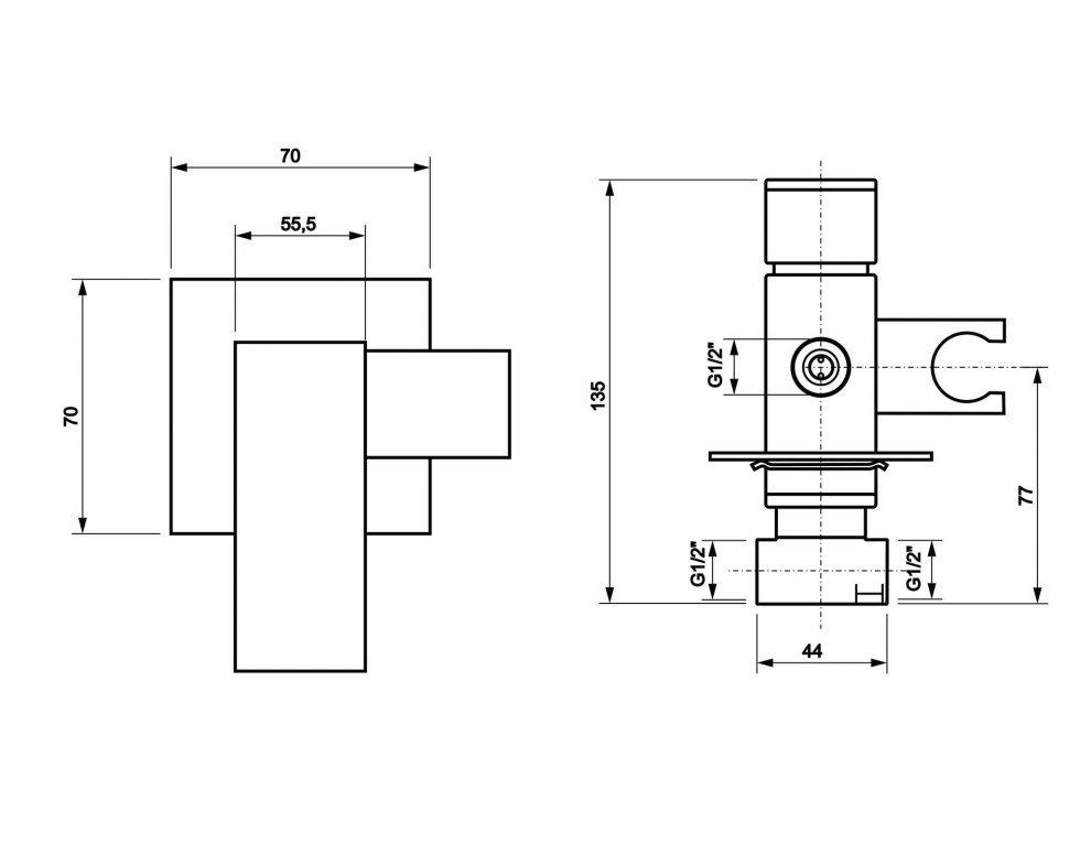 podomietková batéria s integrovaným držiakom bidetovej spršky a príslušenstvom