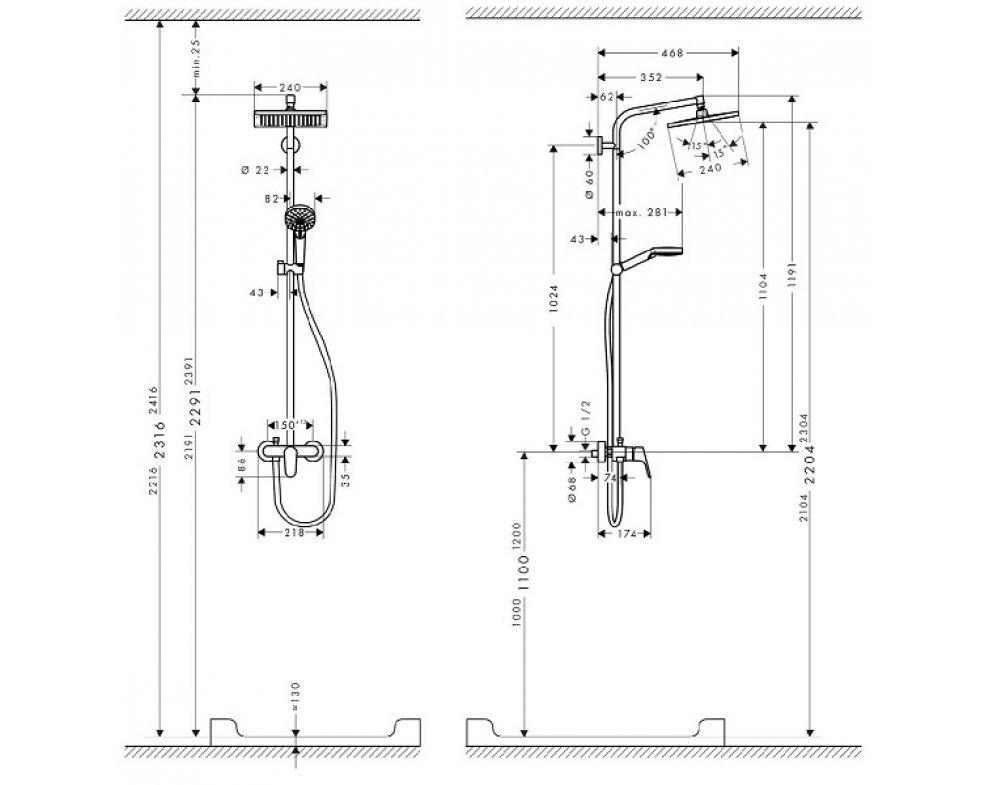 Sprchová súprava Crometta, Showerpipe páková batéria,sprchový držiak, hadica 1,6m