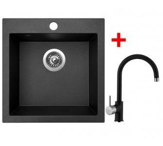 SET drez granit Sinks VIVA 455 Metalblack + batéria VITALIA GR