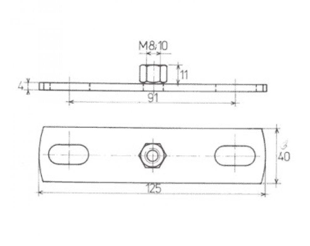 upevňovacia doska pozink. M12 125x40mm (88821601087)