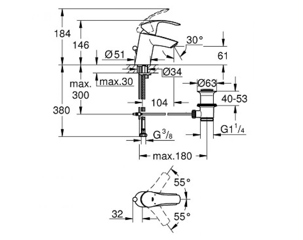 batéria umývadlová stojánková s odtok. garnitúrou, S, EUROSMART