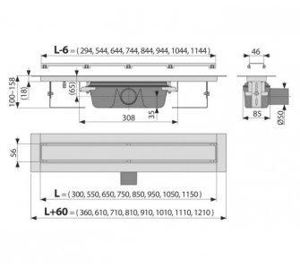 Marble - Podlahový žľab bez okraja s roštom pre vloženie dlažby