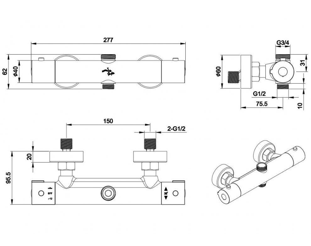 sprchový set termostatickej batérie PERSEI s tyčou Tevere a kompletným príslušenstvom